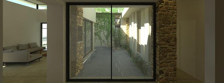 מבט מהכניסה אל הפטיו - עיצוב פנים אדריכלי